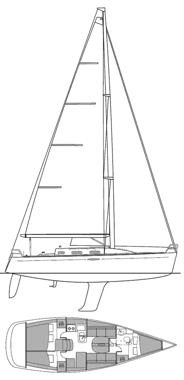 First 36.7 drawing (Beneteau) on sailboatdata.com