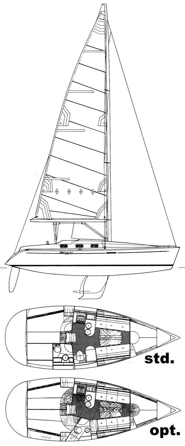 First 36s7 (Beneteau) drawing on sailboatdata.com