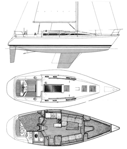 First 375 drawing on sailboatdata.com
