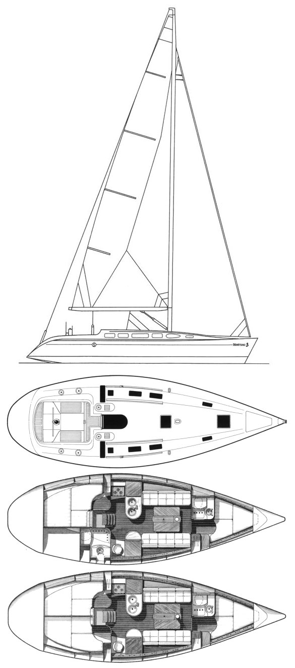 First 38s5 (Beneteau) drawing on sailboatdata.com