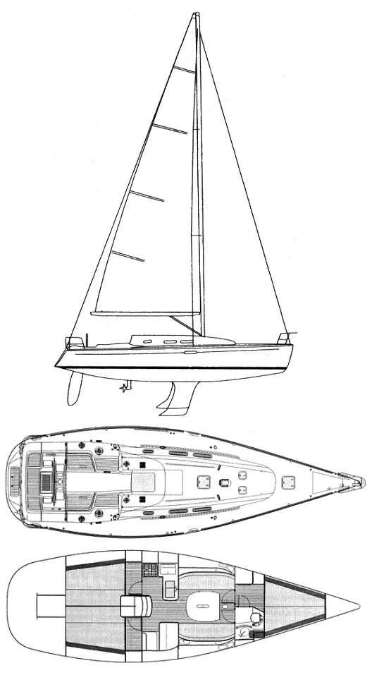 First 40.7 drawing on sailboatdata.com