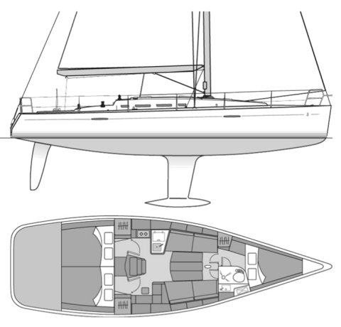 First 40 (Beneteau) drawing on sailboatdata.com