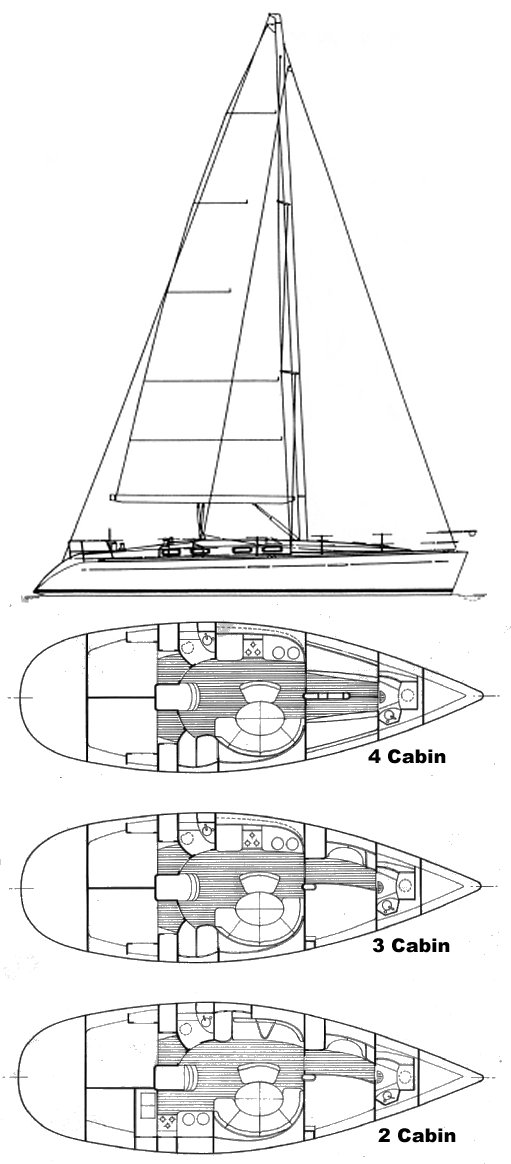 First 42s7 (Beneteau) drawing on sailboatdata.com