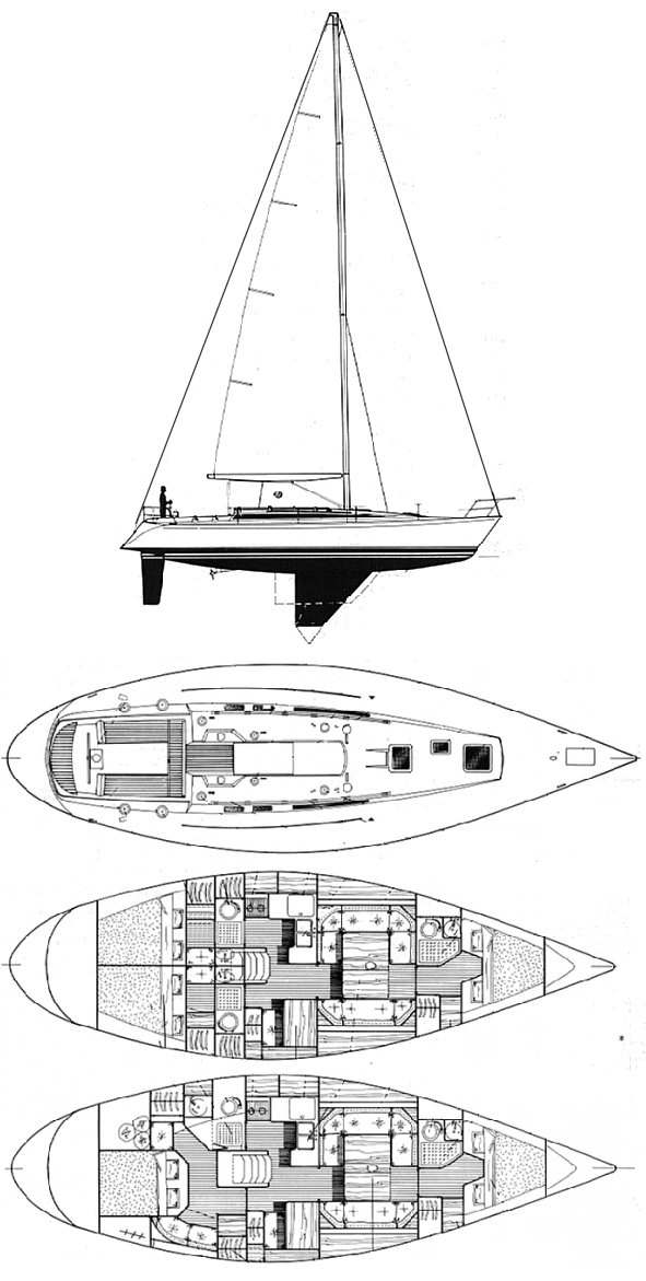 First 435 (Beneteau) drawing on sailboatdata.com