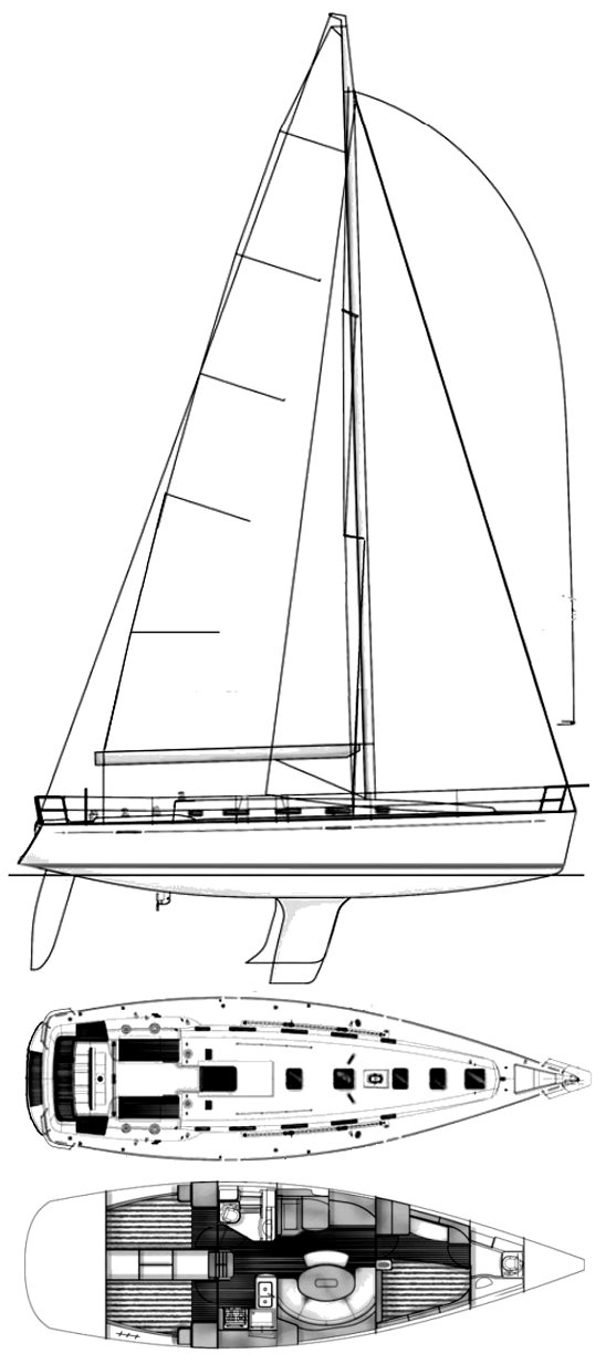 First 44.7 drawing on sailboatdata.com