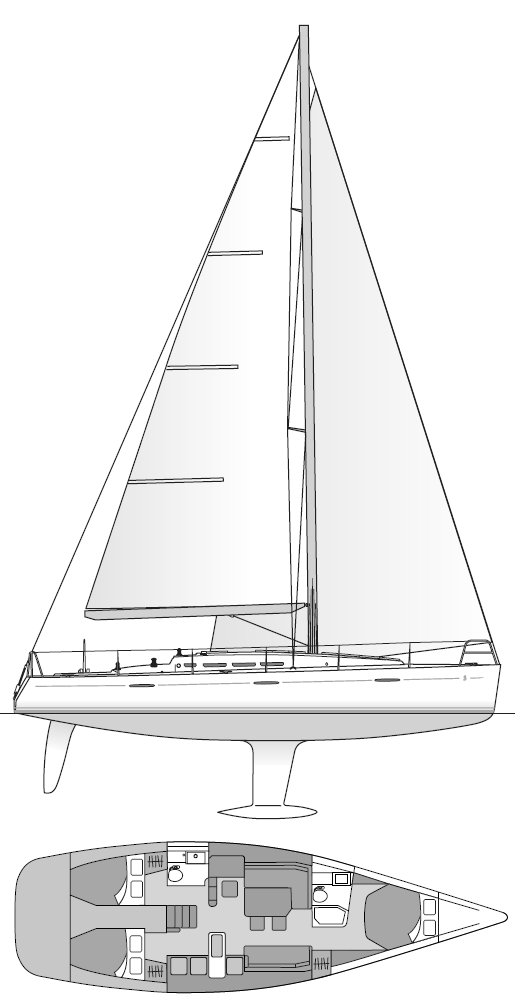 First 45 (Briand) drawing on sailboatdata.com