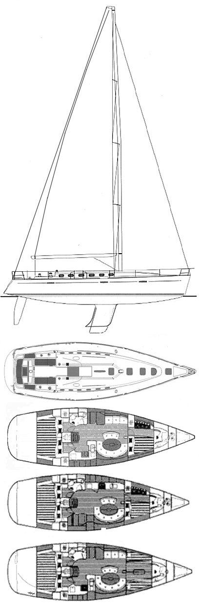 First 47.7 (Beneteau) drawing on sailboatdata.com