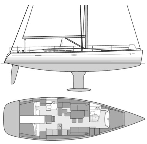 First 50 (Beneteau) drawing on sailboatdata.com