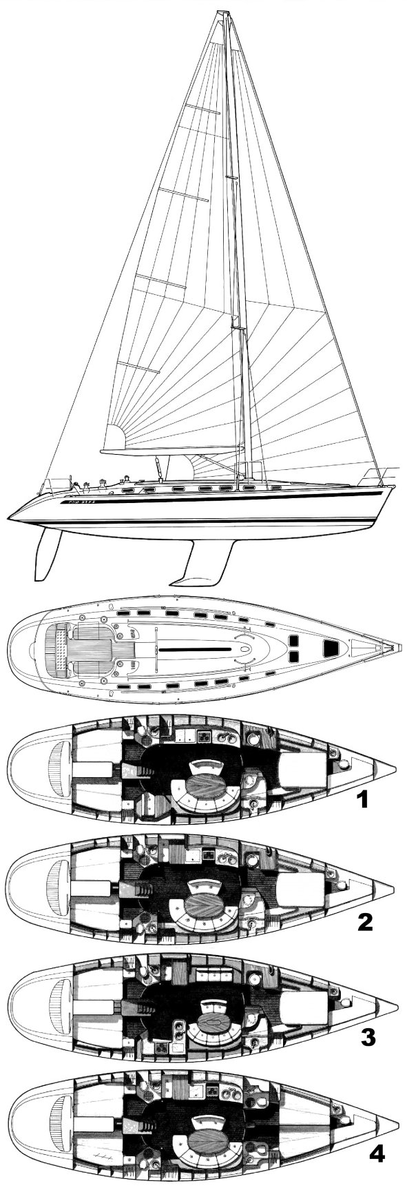 First 53F5 (Beneteau) drawing on sailboatdata.com