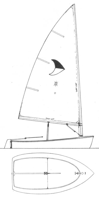 Flipper dinghy drawing on sailboatdata.com