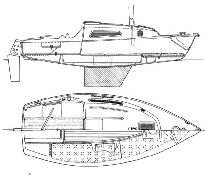 Fying Cruiser B drawing on sailboatdata.com
