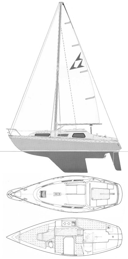 Flying Racer drawing on sailboatdata.com