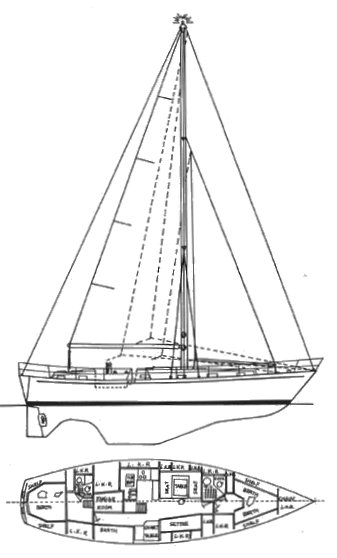 Formosa 46 drawing on sailboatdata.com
