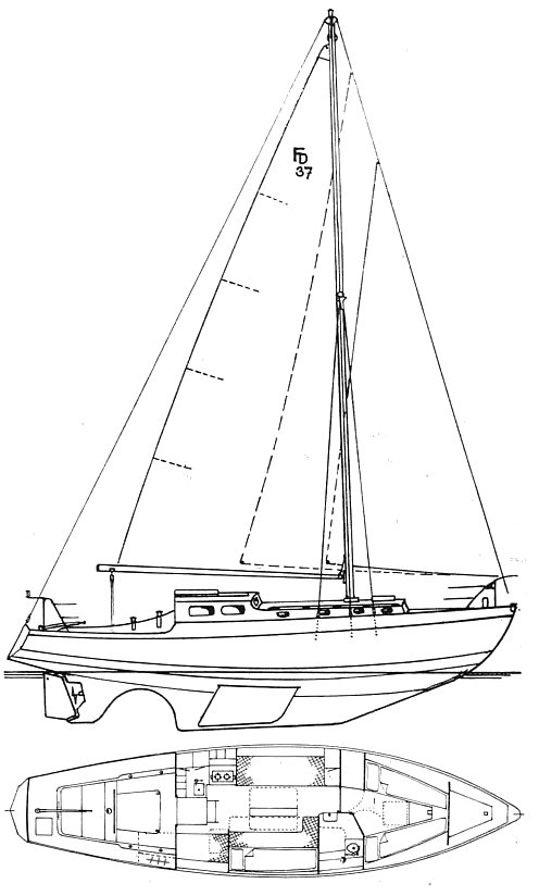 Francis Drake 37 drawing on sailboatdata.com
