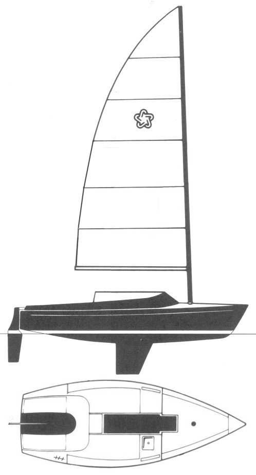 Freedom 21 (Cat) drawing on sailboatdata.com