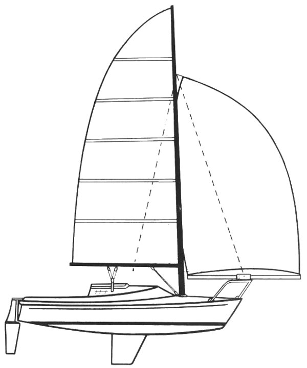 Freedom 21 Sloop drawing on sailboatdata.com