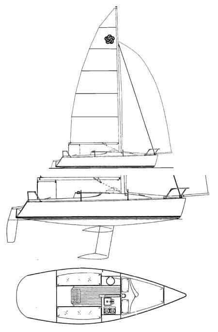 Freedom 24 (Tripp) drawing on sailboatdata.com