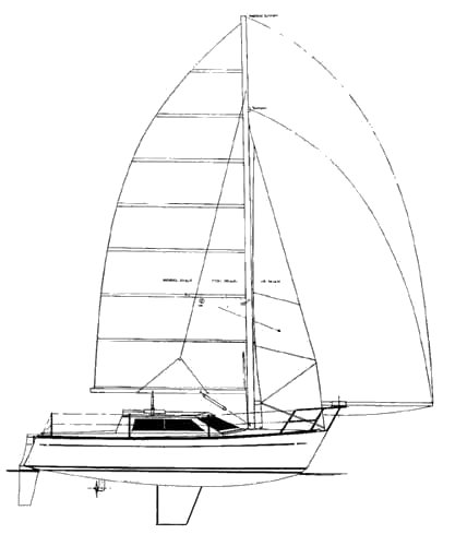 Freedom 27 drawing on sailboatdata.com