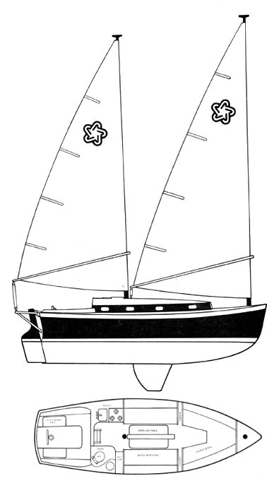 Freedom 28 Cat Ketch drawing on sailboatdata.com