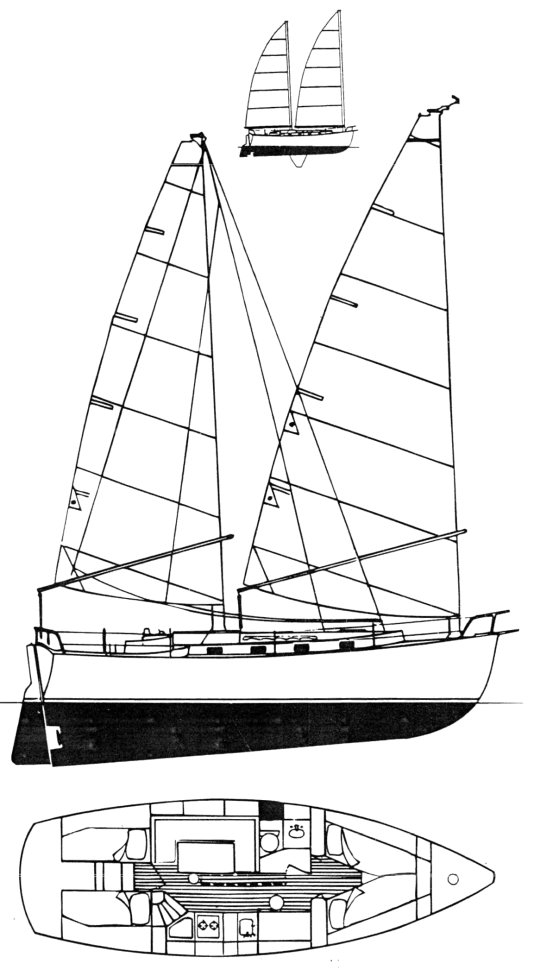 Freedom 35 (Cat Ketch) drawing on sailboatdata.com