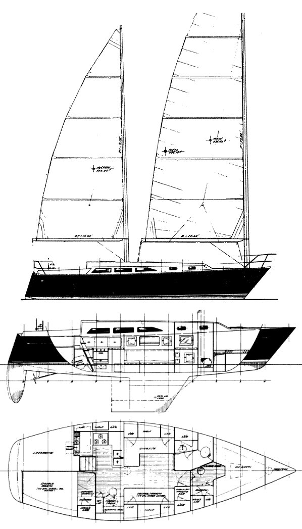 FREEDOM 36 CAT KETCH drawing