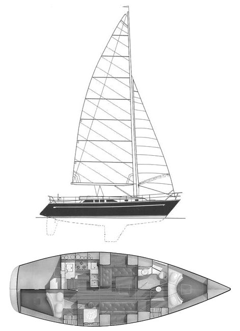 Freedom 38 drawing on sailboatdata.com