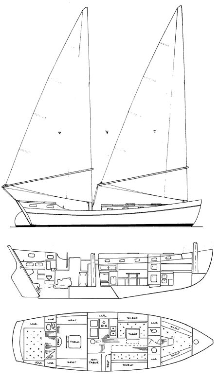Freedom 40 CC drawing on sailboatdata.com