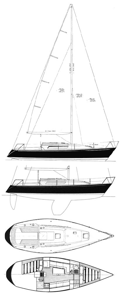 Frers 33 drawing on sailboatdata.com