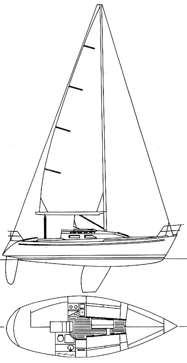 Frers 30 (Carroll Marine) drawing on sailboatdata.com