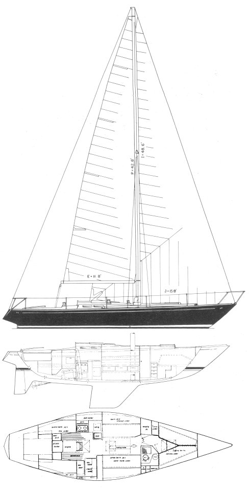 Frers 39 (1974) drawing on sailboatdata.com