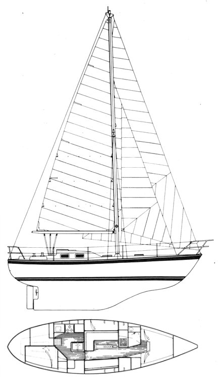 Freya 39 drawing on sailboatdata.com