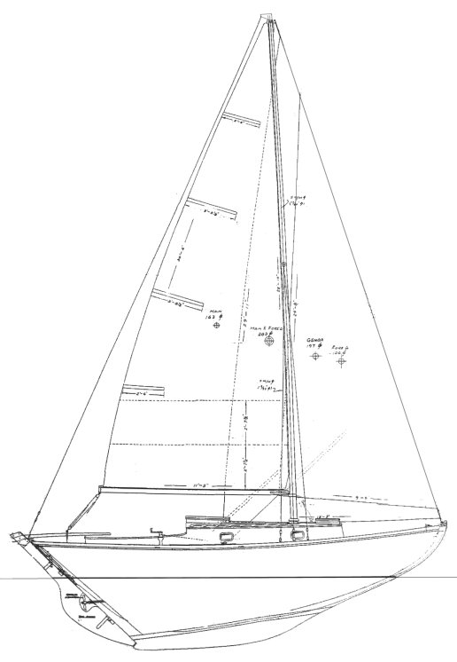 Frisco Flyer drawing on sailboatdata.com