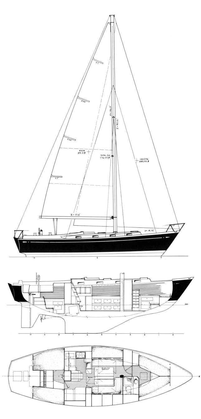 Fuji 40 drawing on sailboatdata.com