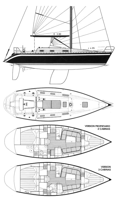 Furia 372 drawing on sailboatdata.com
