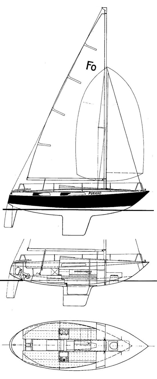 Furioso 25 drawing on sailboatdata.com