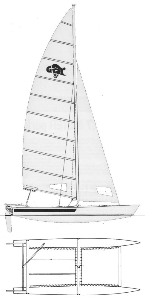 G-Cat 5.7 drawing on sailboatdata.com