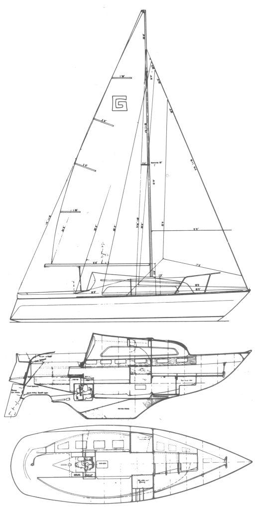 Galion 22 drawing on sailboatdata.com
