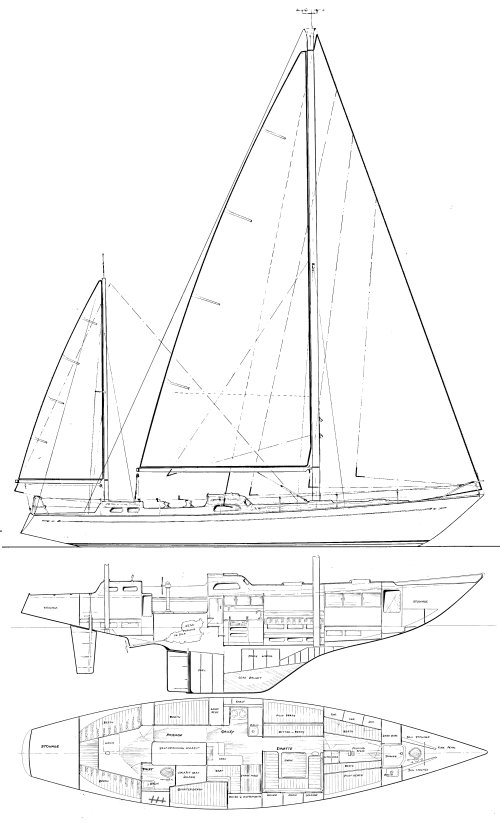 Gallant 53 drawing on sailboatdata.com