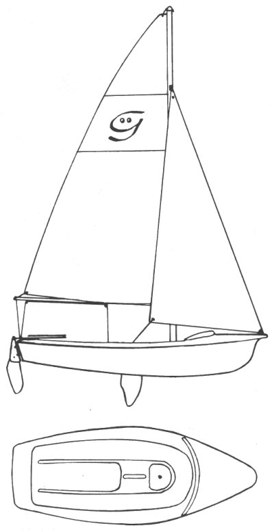 Ghost 13 drawing on sailboatdata.com