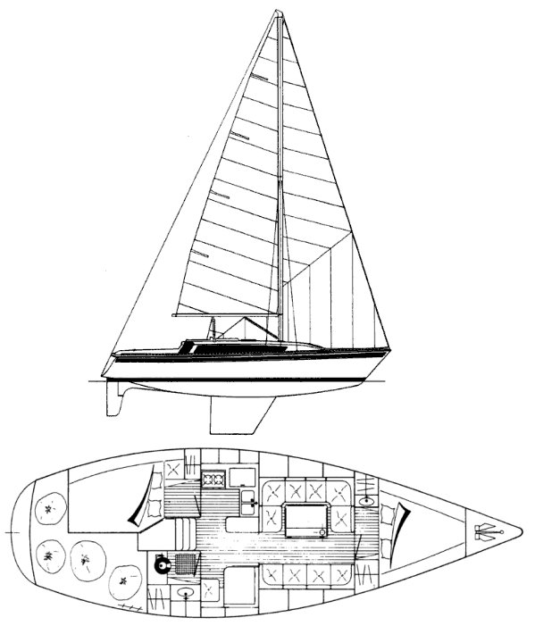 Gib'sea 106 drawing on sailboatdata.com