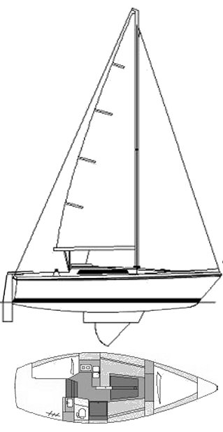 Gib'sea 28 drawing on sailboatdata.com