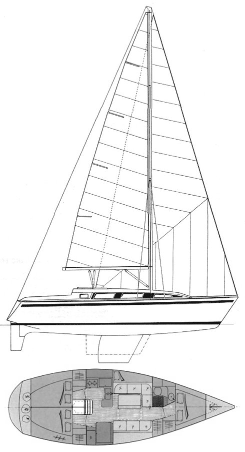 Gib'Sea 372 drawing on sailboatdata.com