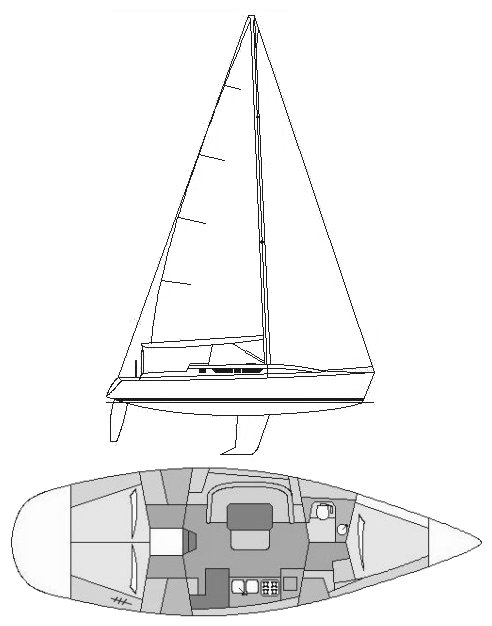 Gib'sea 414 drawing on sailboatdata.com