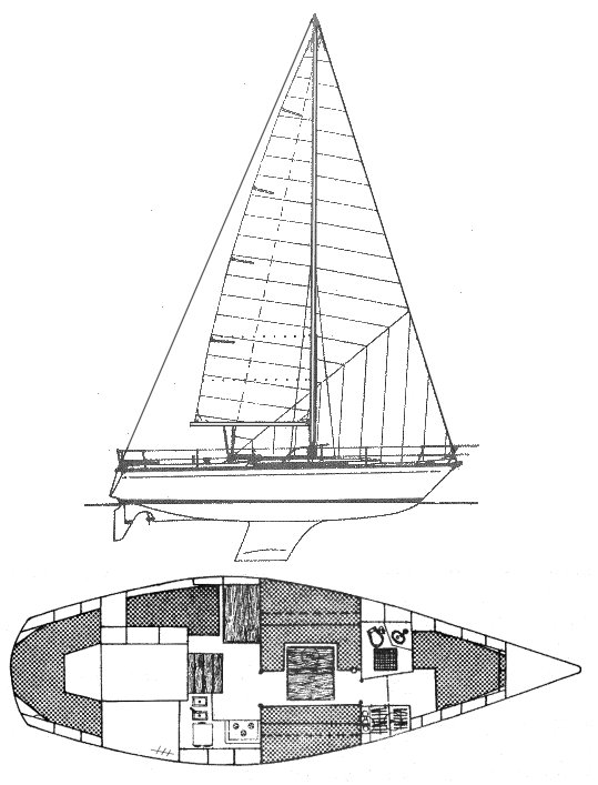 Gin Fizz (Jeanneau) drawing on sailboatdata.com