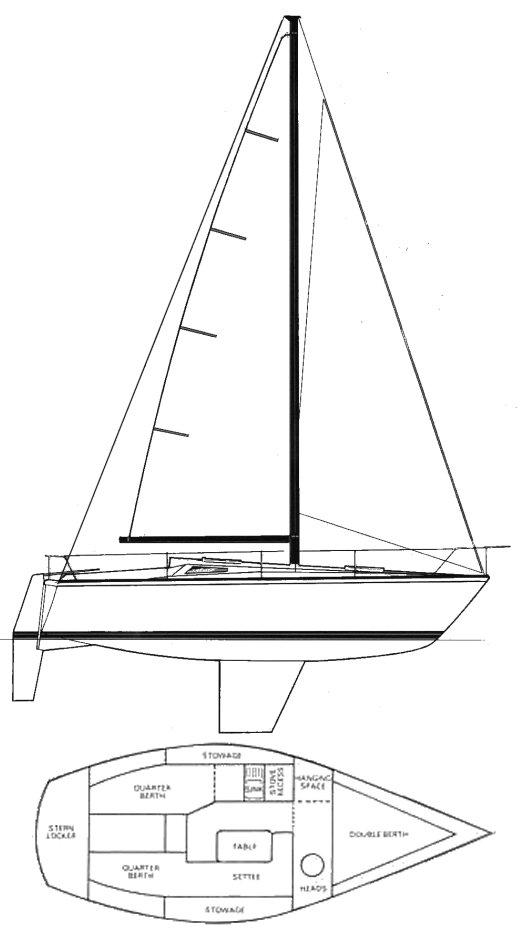 GK 24 (Westerly) drawing on sailboatdata.com