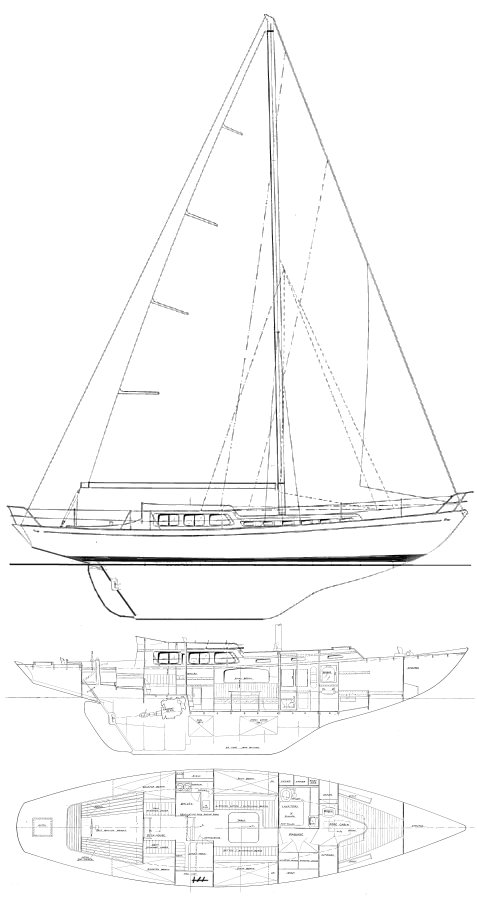 Glass Slipper 50 drawing on sailboatdata.com