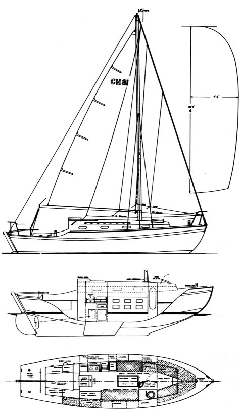 Golden Hind 31 drawing on sailboatdata.com