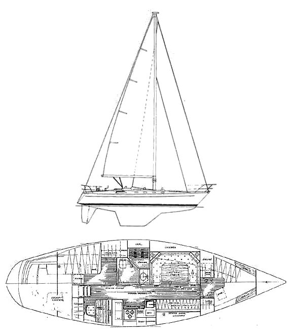 Golde Wave 42 drawing on sailboatdata.com