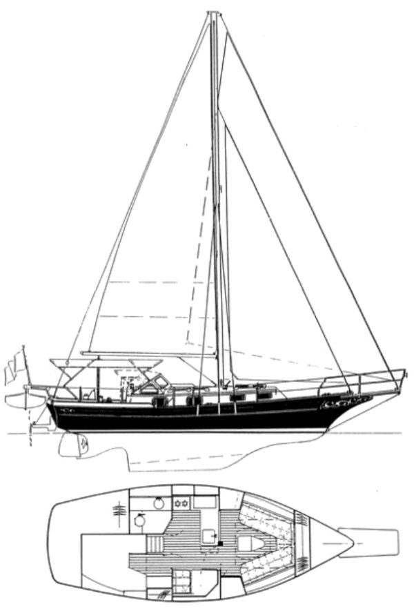 Gozzard 31 drawing on sailboatdata.com