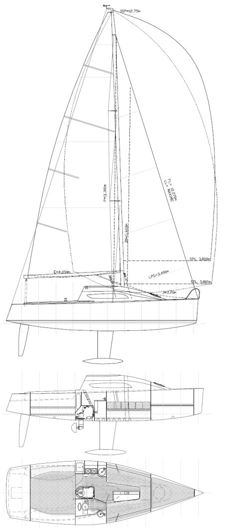 GR 28 drawing on sailboatdata.com